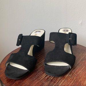 Anne Klein Suede Black Wedge Buckle Sandals